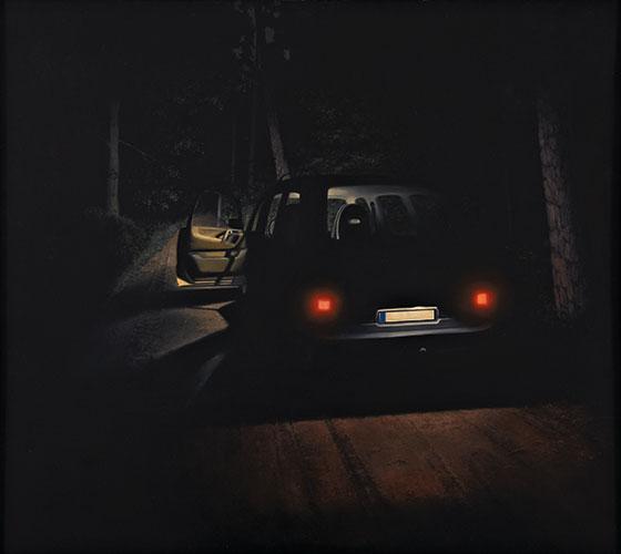 2007  Auto im Waldweg93 x 105 cmÖl auf Holz