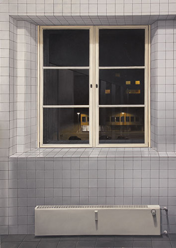 2010  Gekachelter Raum110 x 80 cmÖl auf Holz