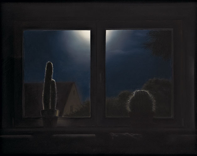 2009  2 Kakteen im Fenster71 x 89 cmÖl auf Holz