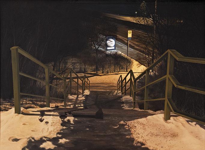 2009  Treppe zur Bushaltestelle110 x 151 cmÖl auf Holz