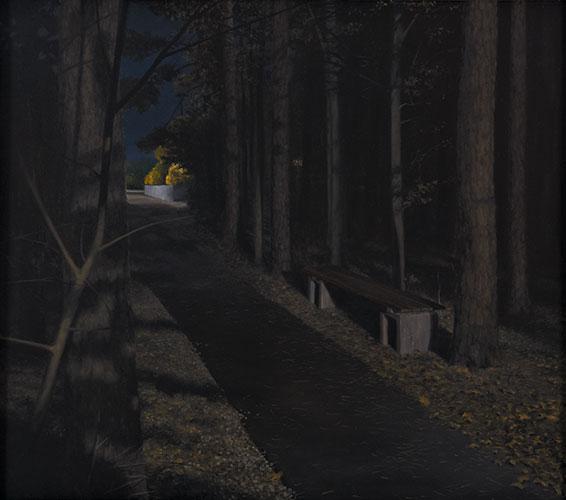 2010  Waldweg mit Bank(warten auf Godot)65 x 74 cmÖl auf Holz